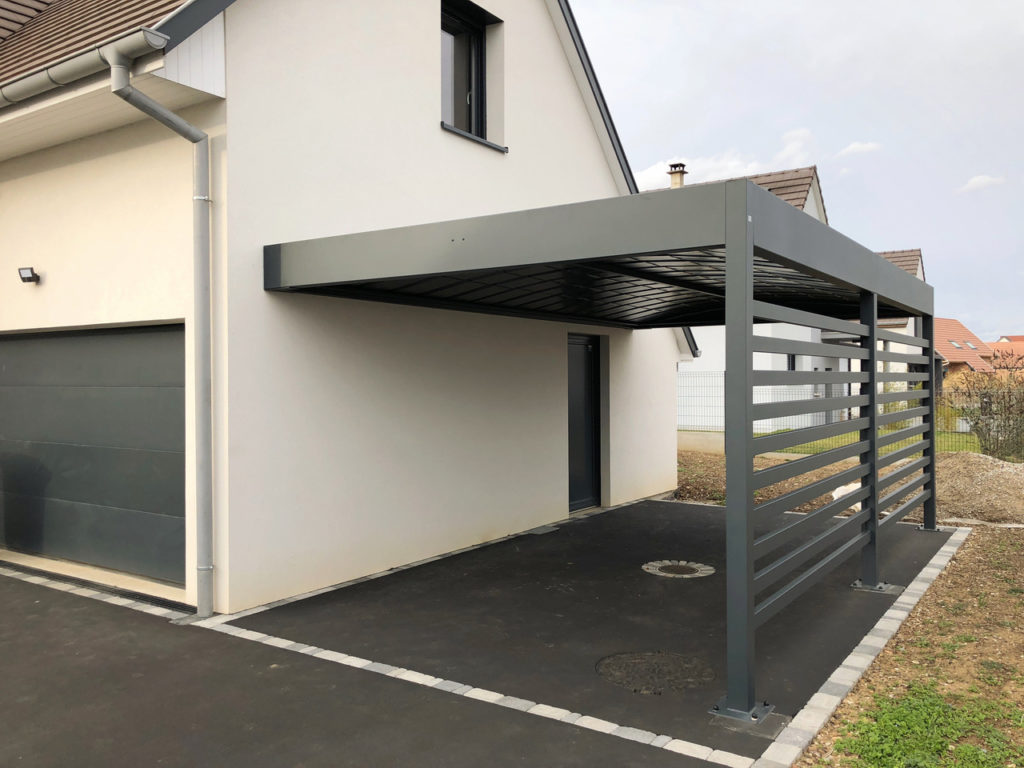 nouveau carport en aluminium adoss toit plat anavi. Black Bedroom Furniture Sets. Home Design Ideas