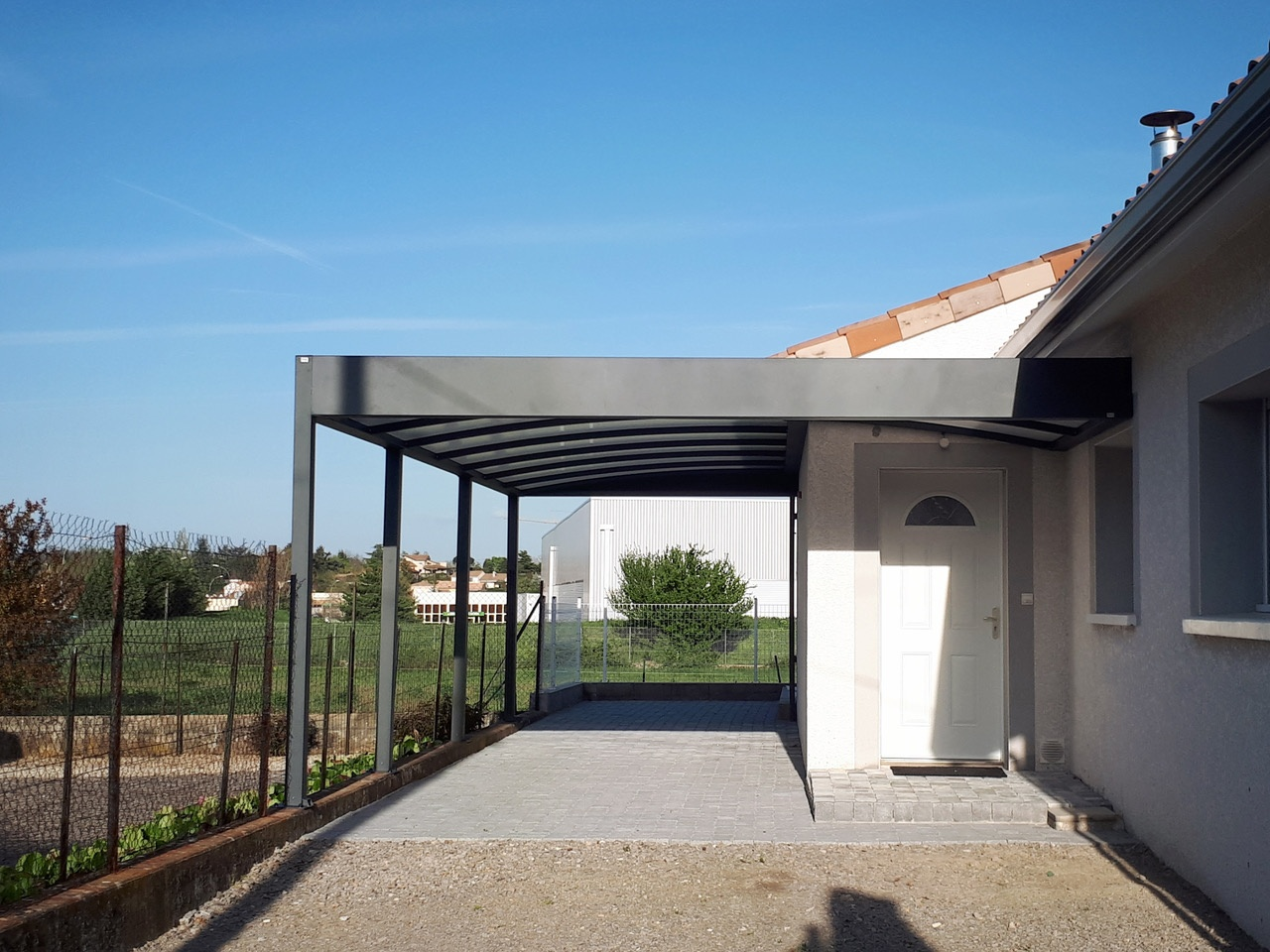 carport toit plat alu et polycarbonate annonay anavi. Black Bedroom Furniture Sets. Home Design Ideas