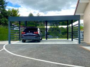 Carport alu double à toit végétal à Cessy