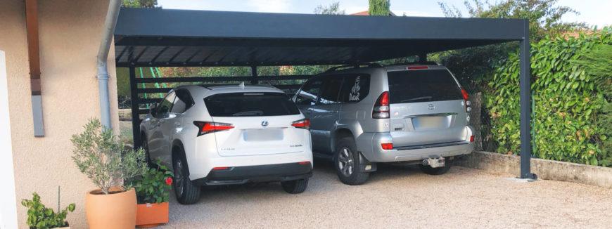 Carport en aluminium double sur mesure àtoit plat réalisé à Dommartin.