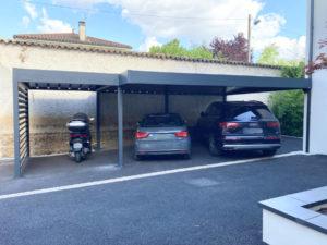 Carport double en aluminium à toit plat à Ecully