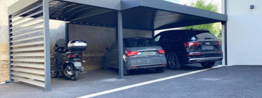 Double carport en aluminium à toit plat à Ecully